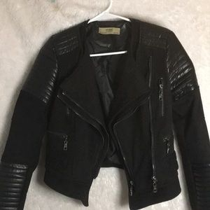 Mixed Media Quilted Cropped Moto Jacket
